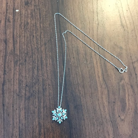 Jewelry - Silver and Blue Crystal Snowflake Pendant Necklace